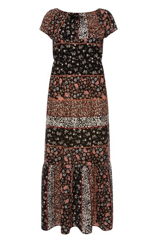 FLoral Black Brown Print Maxi Dress