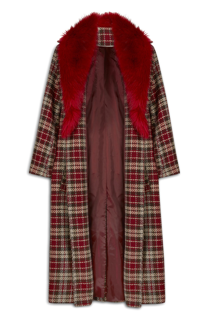 Primark_Long Red Check and Fur Collar Coat_Ôé¼40