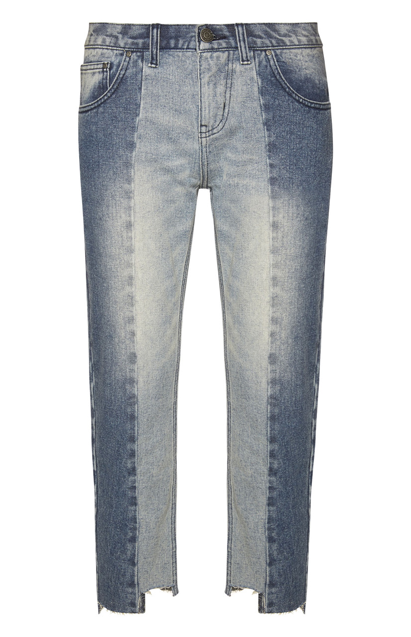 Two Tone Light Wash Denim Raw Edge Jean, no info